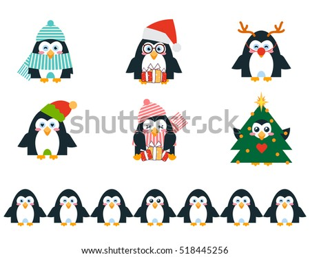 Set of vector cartoon birds in flat style. Cute illustration of funny penguins family, Christmas character – Santa Claus, Elf, Deer, Christmas tree, birds with presents. Abstract Kawaii animals