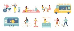 Set of vector cartoon characters. Men and women relax, walk, eat together, play music, ride a skate and bike, sell fast food and drinks in the truck. Summertime modern illustration, white isolated.