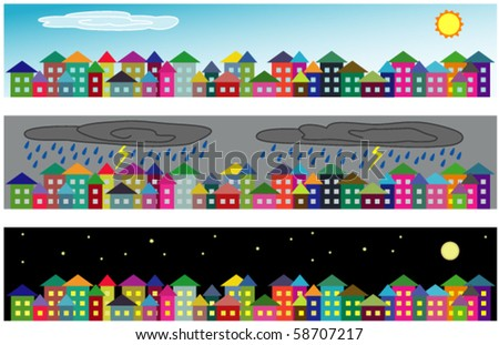 Set of vector cartoon cityscapes - on sunny day, on rainy day and at night