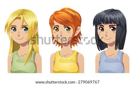 set of vector cartoon cute girls