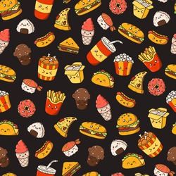 Set of vector cartoon doodle icons junk food. Illustration of comic fast food. Seamless texture, pattern, wallpaper, background