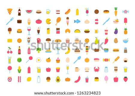 Set Of Vector Cartoon Food Icon Set