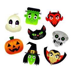 Set of vector cartoon Halloween characters: White Ghost, Frankenstein Monster, Red Devil, Spooky Skeleton Skull, Orange Jack O'Lantern Pumpkin, Green Witch, Black Cat, and Dracula Vampire