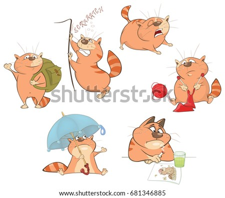Set of Vector Cartoon Illustration. A Cute Cats for you Design