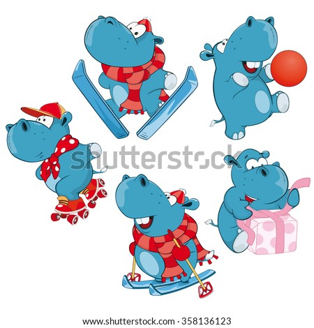 Set of Vector Cartoon Illustration. A Cute Hippo for you Design