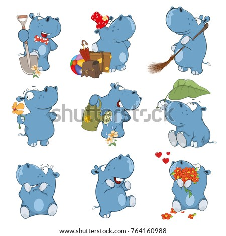 Set of Vector Cartoon Illustration.  A Cute Hippo for you Design