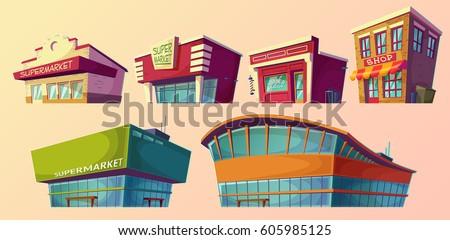 stock-vector-set-of-vector-cartoon-illustrations-icons-retro-and-modern-supermarket-barber-shop