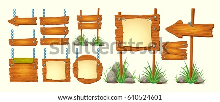 Set of vector cartoon illustrations wooden signs various forms, components for game development, gui design elements