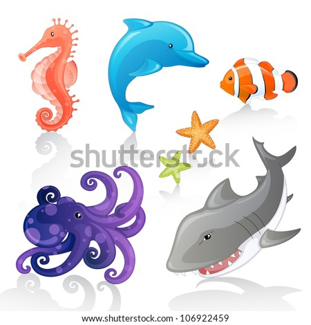 Set of Vector Cartoon Sea Creatures