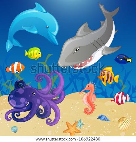 set of vector cartoon sea