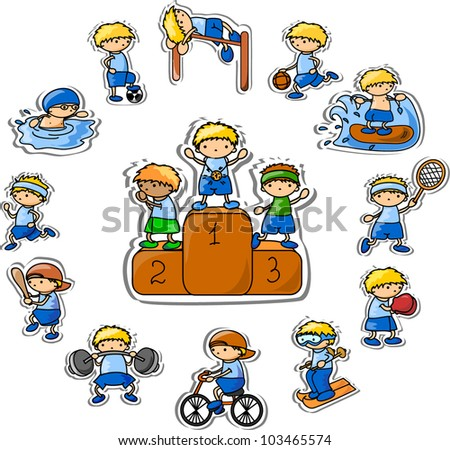 set of vector cartoon sport