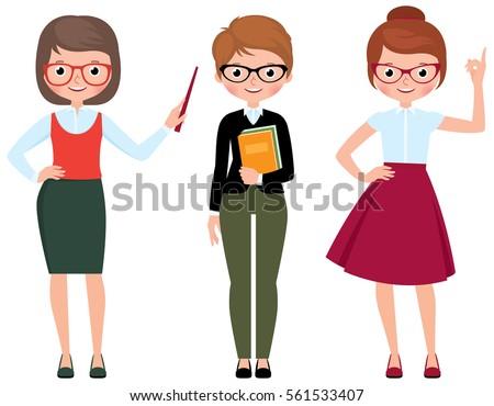 set of vector cartoon teacher