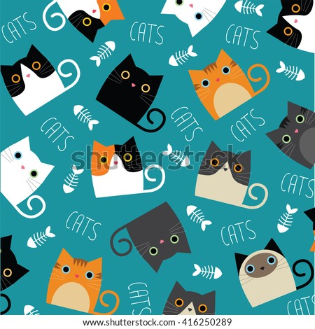 stock-vector-set-of-vector-cats-depicting-different-breeds-and-fur-color-on-a-blue-background