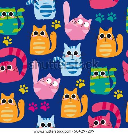 set of vector cats depicting