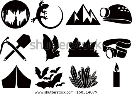 set of vector cave icons with