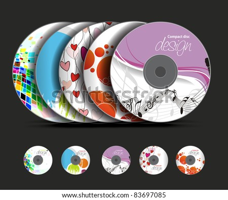 set of vector cd cover design