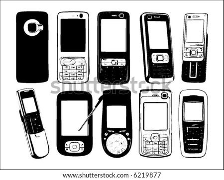 set of vector cell phones