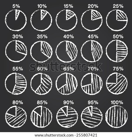 Set of vector chalk hand drawn pie chart infographics elements sketch on black board