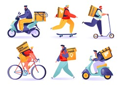 Set of vector characters in cartoon flat style. Delivery service concept. Couriers walk, ride motorcycle and bicycles, skateboards and scooters. Deliver orders to different points of the city.