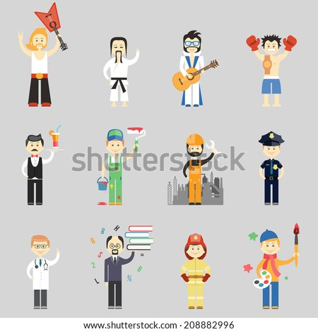 Set of vector characters in different professions including martial arts  musicians  waiter  painter  construction worker  policeman  doctor  professor  fireman and artist