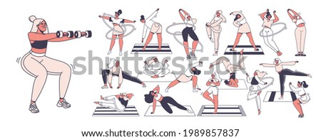 Set of vector characters involved in sports. Healthy lifestyle concept. Joyful, smiling women are engaged in fitness, morning exercises, yoga, exercise, push-ups and squats, twist hula hoops.