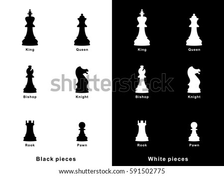 Set of vector chess pieces icons. Flat design. Chess figures