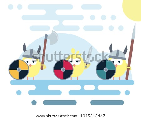 Set Of Vector Chicken Characters Stylized As A Viking Warrior With Various Weapons Modern Flat