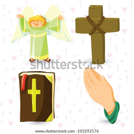 Set of vector christian symbols - angel, cross, Holy Bible, prayer's hands