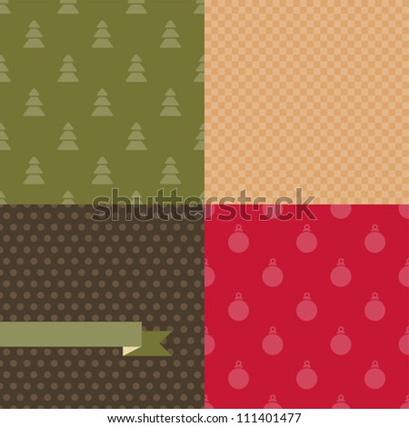 Set of 4 Vector Christmas and New Year seamless patterns.