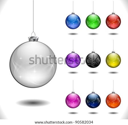 Set of Vector Christmas ball. eps 10 illustration