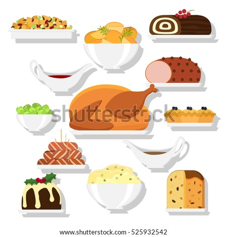 set of vector christmas food in