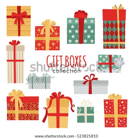set of vector christmas gift