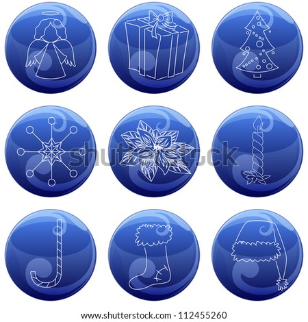 set of 9 vector christmas icons on blue button