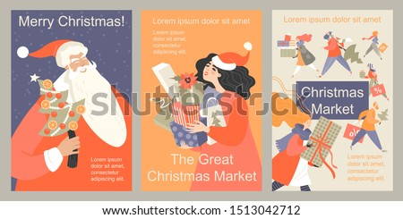 Set of vector Christmas market flyers. Illustrations of funny cartoon people and Santa Claus. Image for banner design for the big Christmas sale.