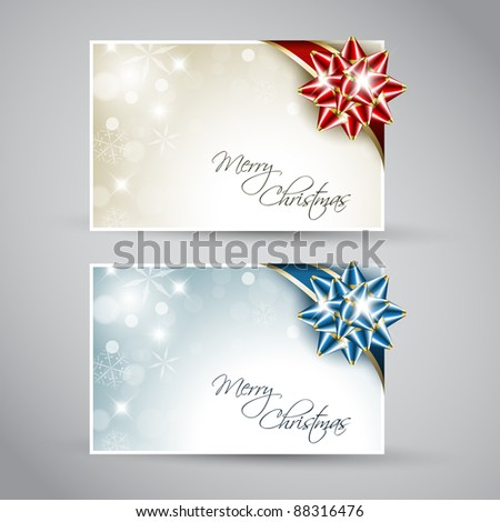 Set of vector christmas / New Year cards with ribbon