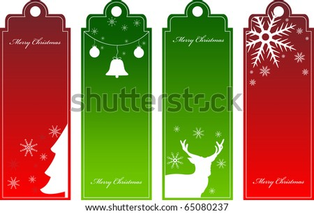 Set of vector christmas red and green tags