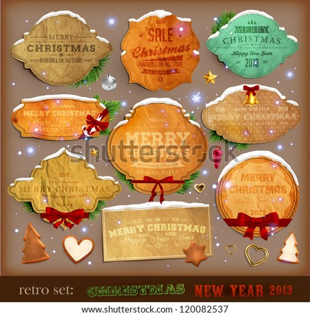 Set of vector Christmas ribbons, old dirty paper textures and vintage new year labels. Elements for Xmas design: balls, sweet, bells, mistletoe, fur-tree branches, snowman, gingerbread, stars and bow.