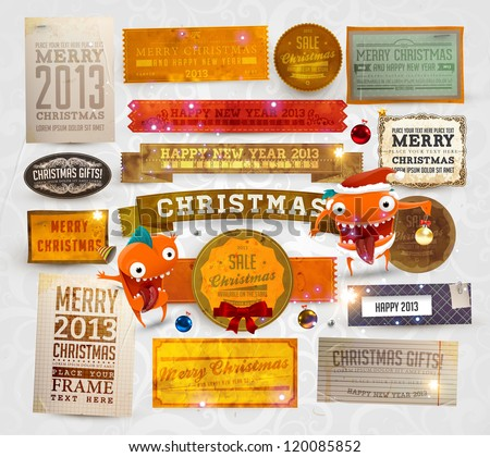 Set of vector Christmas ribbons, old dirty paper textures and vintage new year labels. Elements for Xmas design: balls, bow, snowflakes and funny Santa character