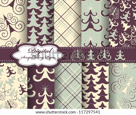 set of vector Christmas tree paper for scrapbook