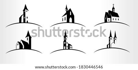 set of vector church logo
