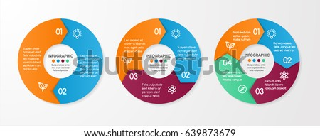 Set of vector circle arrows for infographic. Template for cycle diagram, options, graph, web design, presentation and round chart. Business concept with 4 steps. Abstract background.