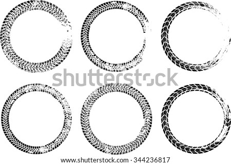 Set of Vector Circles . Tire Track Vector Round Border Frame . Distressed Overlay Grunge Design elements .
