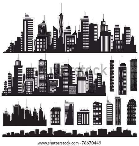 Set of vector cities silhouette and elements for design.