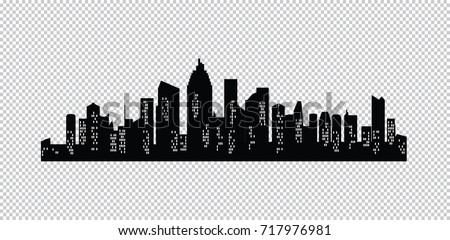 Set Of Vector Cities Silhouette Night Town On Transparent Background