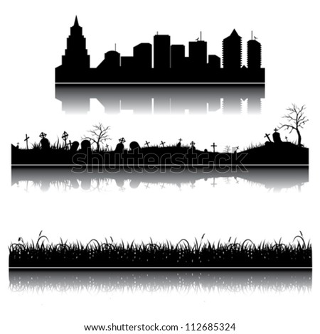 Set of vector city, grass and graveyard silhouettes