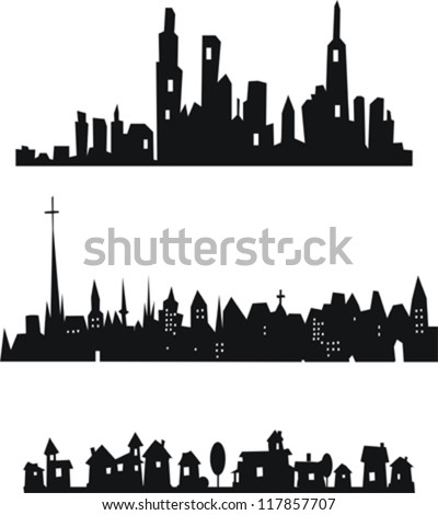 Set of vector cityscape backgrounds