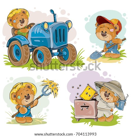 Set of vector clip art illustrations of a teddy bear on a tractor, beekeeper, farmer, isolated on white. Prints, design elements