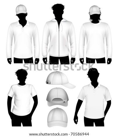 Set of vector clothes design template with human body silhouette