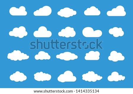 Set of Vector Cloud icons. Cloud symbol for your web site design, logo, app, UI. Set of different sky. Blue Cloud icon, cloud shape.