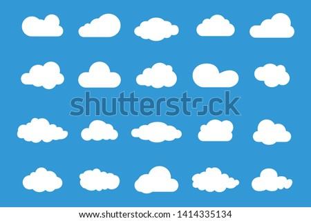 Set of Vector Cloud icons. Cloud symbol for your web site design, logo, app, UI. Set of different sky. Blue Cloud icon, cloud shape.